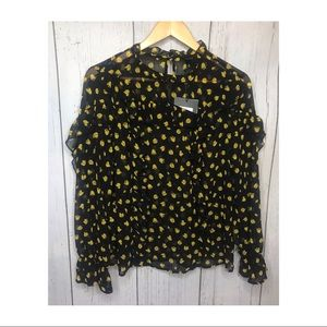 Who What Wear Tops - NWT Who What Wear High Neck Ruffle Tulip Blouse